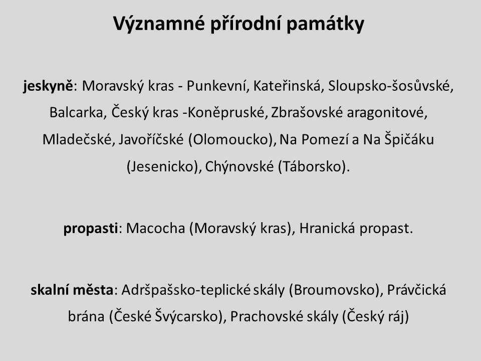 Významné přírodní památky jeskyně: Moravský kras - Punkevní, Kateřinská, Sloupsko-šosůvské, Balcarka, Český kras -Koněpruské, Zbrašovské aragonitové, Mladečské, Javoříčské (Olomoucko), Na Pomezí a Na Špičáku (Jesenicko), Chýnovské (Táborsko).