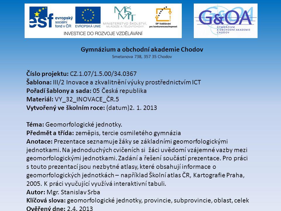 Geomorfologické jednotky 1.Geomorfologické systémy 2.
