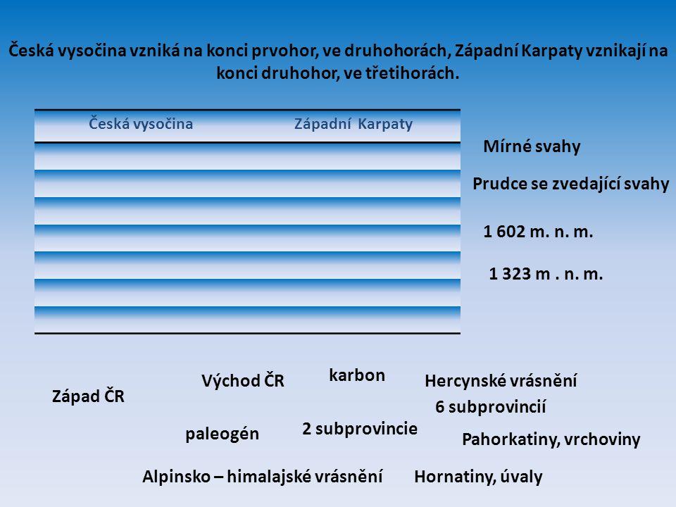 Česká vysočina vzniká na konci prvohor, ve druhohorách, Západní Karpaty vznikají na konci druhohor, ve třetihorách. Česká vysočinaZápadní Karpaty Zápa