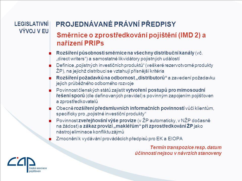 PROJEDNÁVANÉ PRÁVNÍ PŘEDPISY ■Hrozí zákaz zohledňování věku a zdravotního stavu v komerčním pojištění ■Legislativní postup blokován nečinností Rady EU ■Není prioritou současného předsednictví Radě EU LEGISLATIVNÍ VÝVOJ V EU Návrh směrnice k zajištění rovného přístupu z hlediska věku a zdravotního stavu Předpokládaná účinnost ?