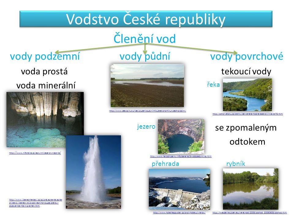 Vodstvo České republiky Členění vod vody podzemní vody půdní vody povrchové voda prostá tekoucí vody voda minerální nebo minerální se zpomaleným odtok