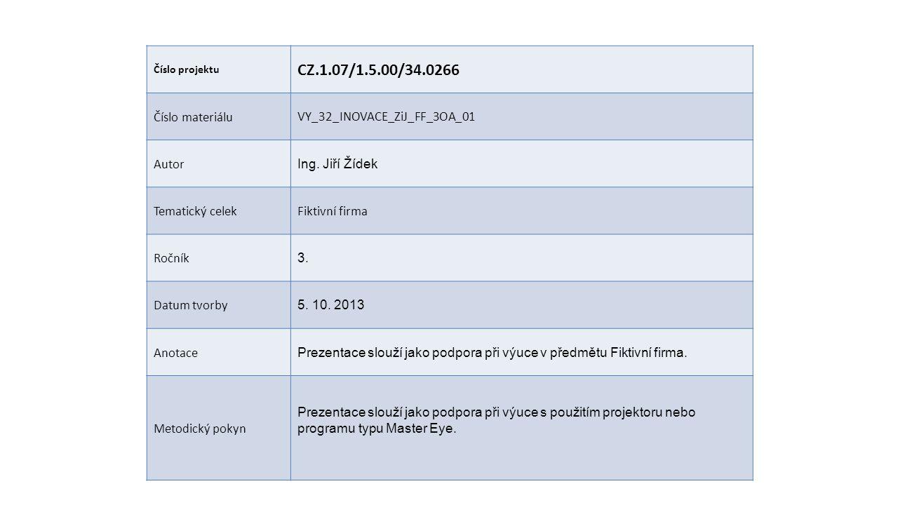 Číslo projektu CZ.1.07/1.5.00/34.0266 Číslo materiáluVY_32_INOVACE_ZiJ_FF_3OA_01 Autor Ing. Jiří Žídek Tematický celekFiktivní firma Ročník 3. Datum t