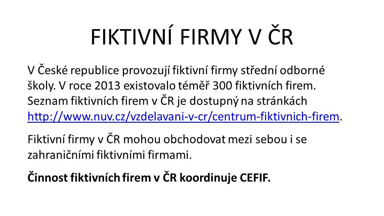 V České republice provozují fiktivní firmy střední odborné školy. V roce 2013 existovalo téměř 300 fiktivních firem. Seznam fiktivních firem v ČR je d
