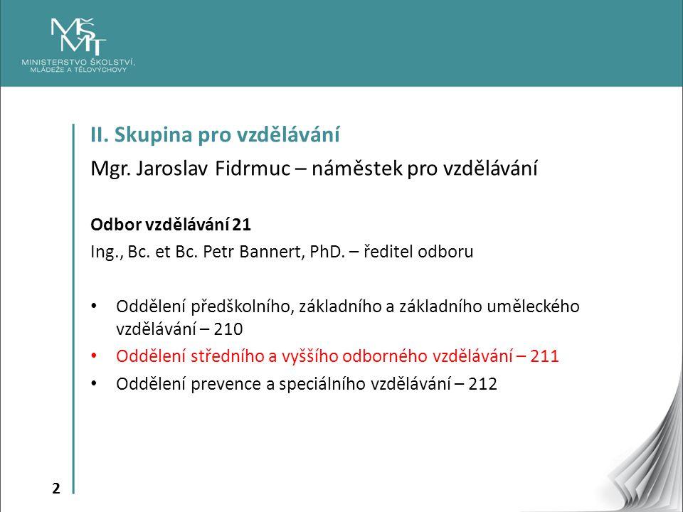 2 II. Skupina pro vzdělávání Mgr. Jaroslav Fidrmuc – náměstek pro vzdělávání Odbor vzdělávání 21 Ing., Bc. et Bc. Petr Bannert, PhD. – ředitel odboru
