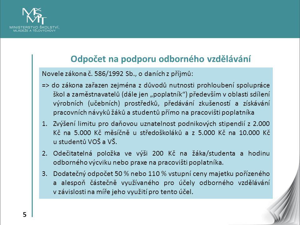 5 Odpočet na podporu odborného vzdělávání Novele zákona č. 586/1992 Sb., o daních z příjmů: => do zákona zařazen zejména z důvodů nutnosti prohloubení