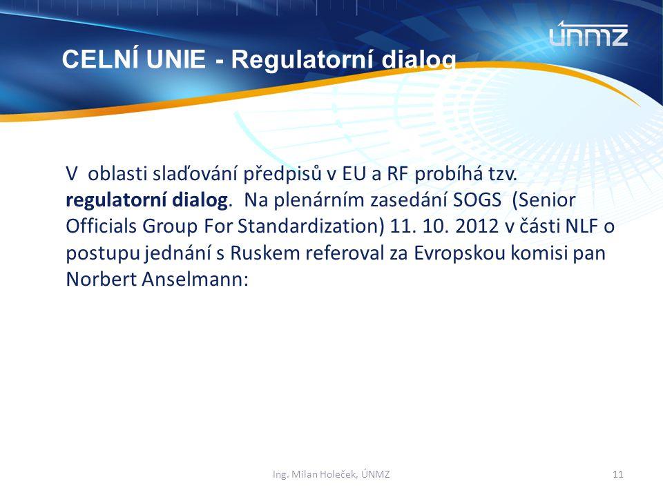 V oblasti slaďování předpisů v EU a RF probíhá tzv.