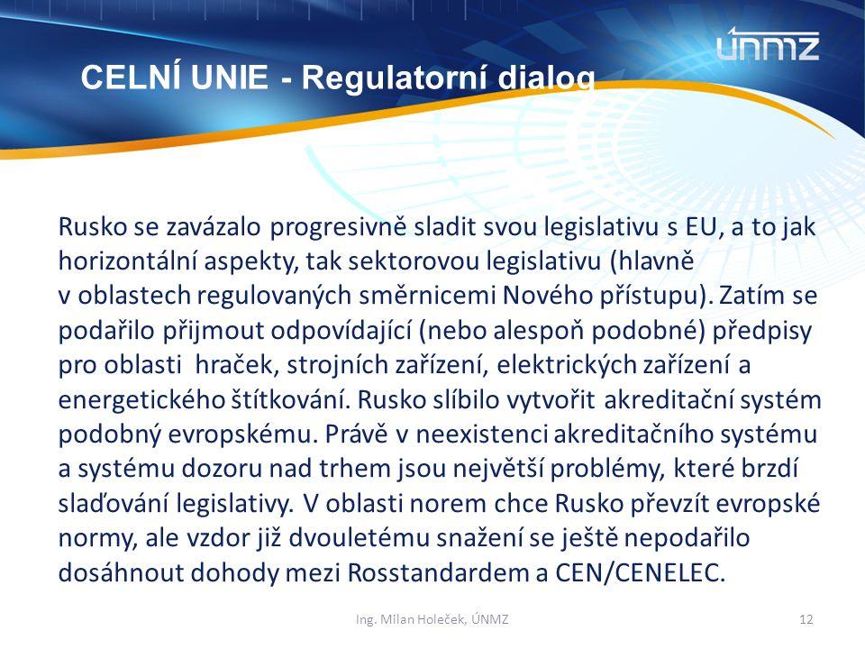Rusko se zavázalo progresivně sladit svou legislativu s EU, a to jak horizontální aspekty, tak sektorovou legislativu (hlavně v oblastech regulovaných směrnicemi Nového přístupu).