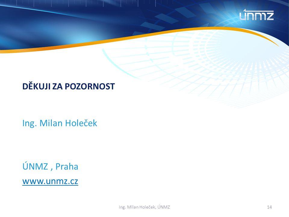 Ing. Milan Holeček ÚNMZ, Praha www.unmz.cz DĚKUJI ZA POZORNOST 14Ing. Milan Holeček, ÚNMZ