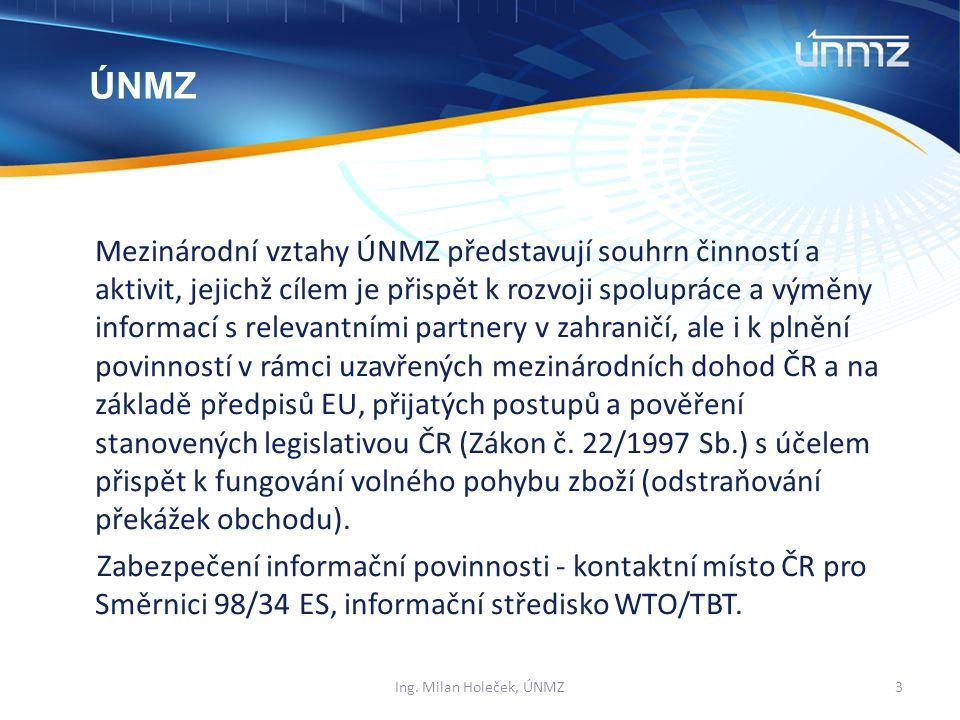 Mezinárodní vztahy ÚNMZ představují souhrn činností a aktivit, jejichž cílem je přispět k rozvoji spolupráce a výměny informací s relevantními partnery v zahraničí, ale i k plnění povinností v rámci uzavřených mezinárodních dohod ČR a na základě předpisů EU, přijatých postupů a pověření stanovených legislativou ČR (Zákon č.