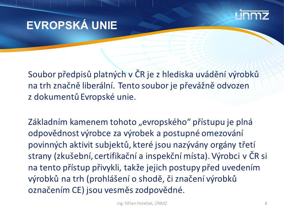 Soubor předpisů platných v ČR je z hlediska uvádění výrobků na trh značně liberální.