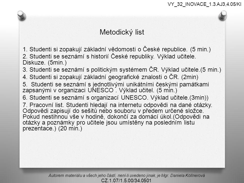 Metodický list 1. Studenti si zopakují základní vědomosti o České republice.