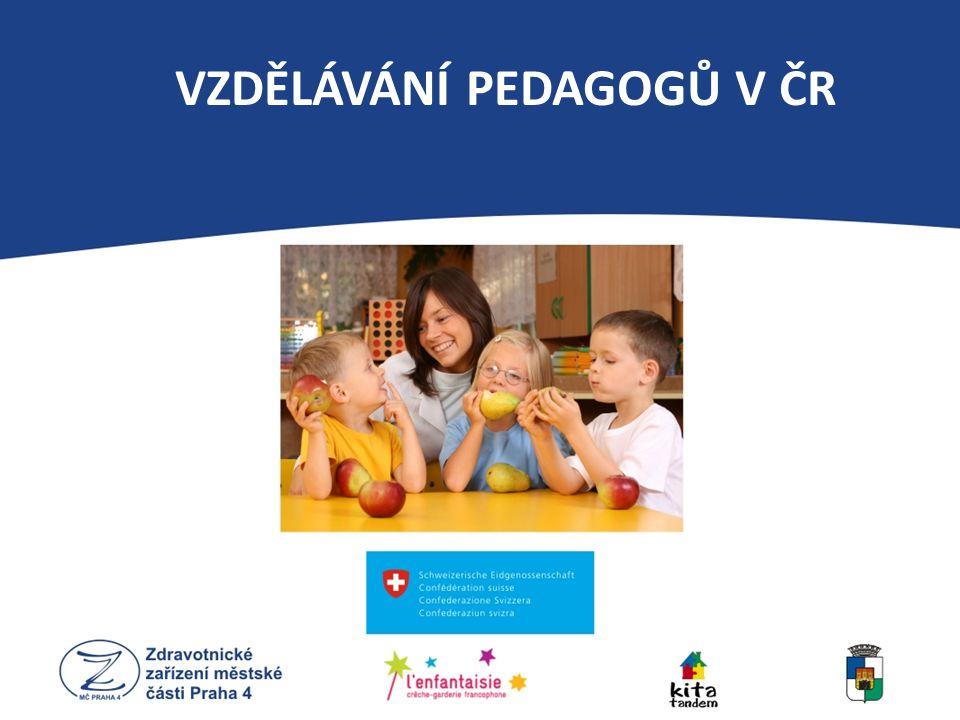 16 středních pedagogických škol 8 vyšších odborných škol 32 vysokých pedagogických škol (9 pedagog.fakult) Katedra primární pedagogiky Pedagogické fakulty UK v Praze Učitelství pro MŠ (Bc.) Učitelství pro 1.