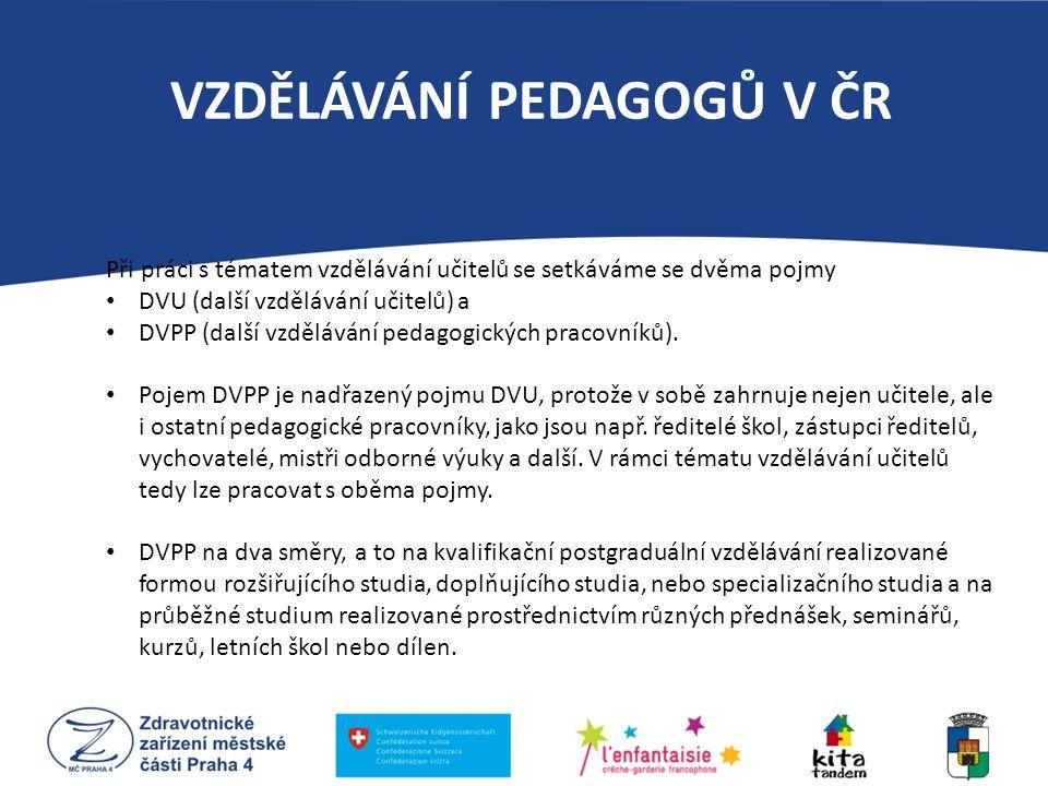 VZDĚLÁVÁNÍ PEDAGOGŮ V ČR Při práci s tématem vzdělávání učitelů se setkáváme se dvěma pojmy DVU (další vzdělávání učitelů) a DVPP (další vzdělávání pe