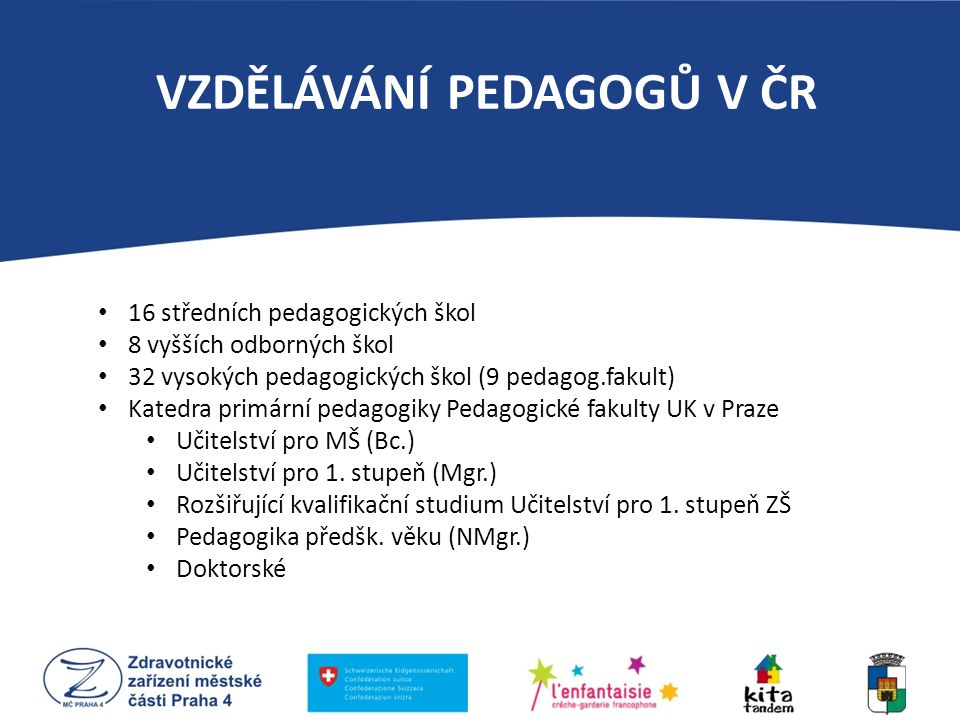 16 středních pedagogických škol 8 vyšších odborných škol 32 vysokých pedagogických škol (9 pedagog.fakult) Katedra primární pedagogiky Pedagogické fak