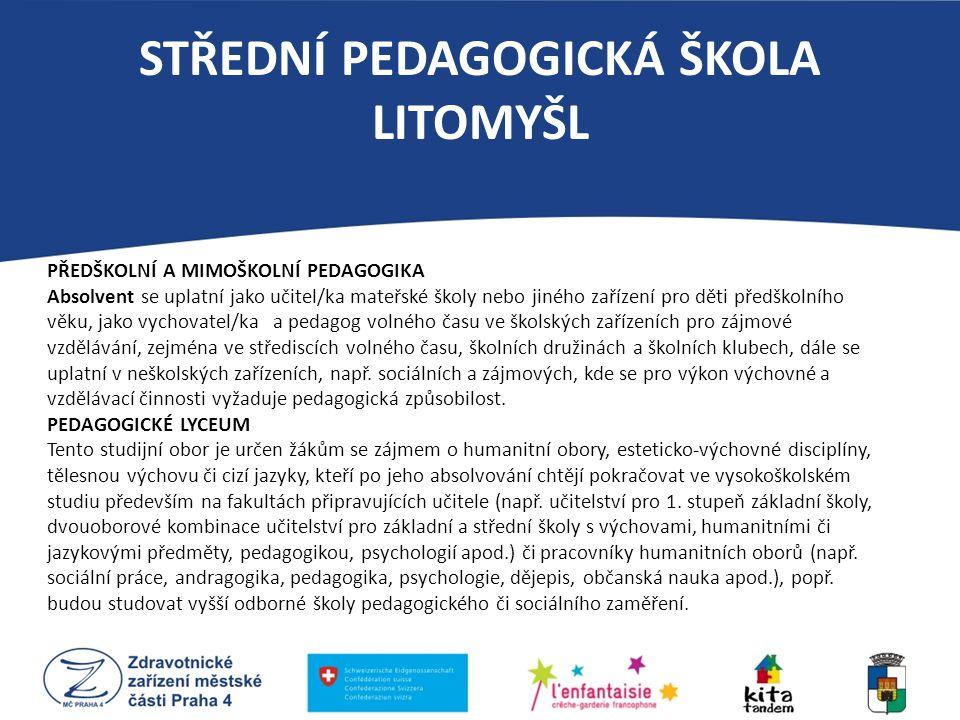 STŘEDNÍ PEDAGOGICKÁ ŠKOLA LITOMYŠL PŘEDŠKOLNÍ A MIMOŠKOLNÍ PEDAGOGIKA Absolvent se uplatní jako učitel/ka mateřské školy nebo jiného zařízení pro děti