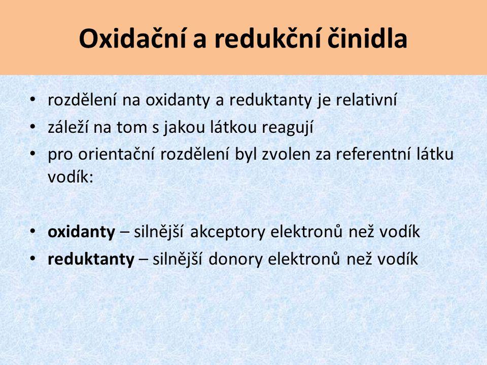 Oxidační a redukční činidla rozdělení na oxidanty a reduktanty je relativní záleží na tom s jakou látkou reagují pro orientační rozdělení byl zvolen z