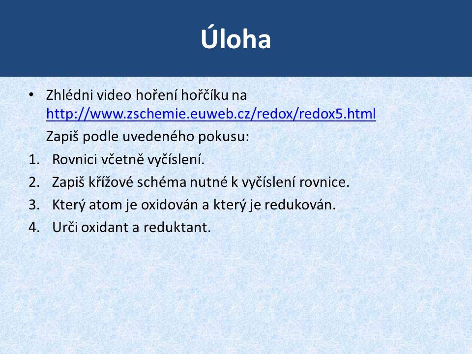 Úloha Zhlédni video hoření hořčíku na http://www.zschemie.euweb.cz/redox/redox5.html http://www.zschemie.euweb.cz/redox/redox5.html Zapiš podle uveden