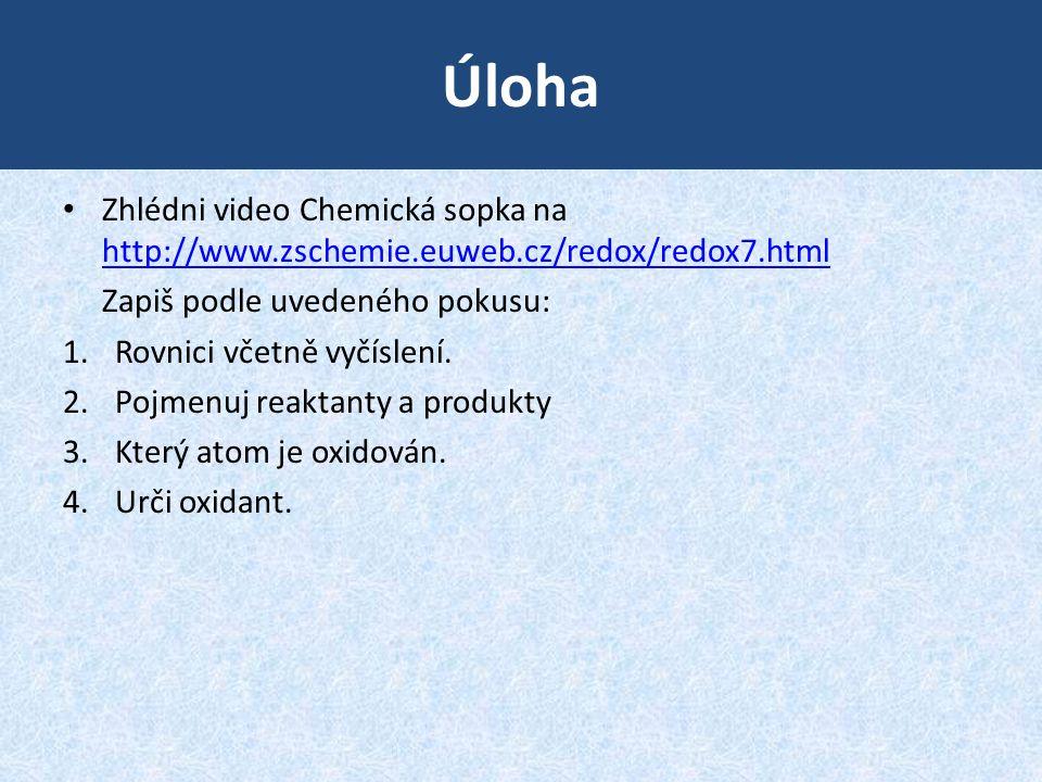 Úloha Zhlédni video Chemická sopka na http://www.zschemie.euweb.cz/redox/redox7.html http://www.zschemie.euweb.cz/redox/redox7.html Zapiš podle uveden