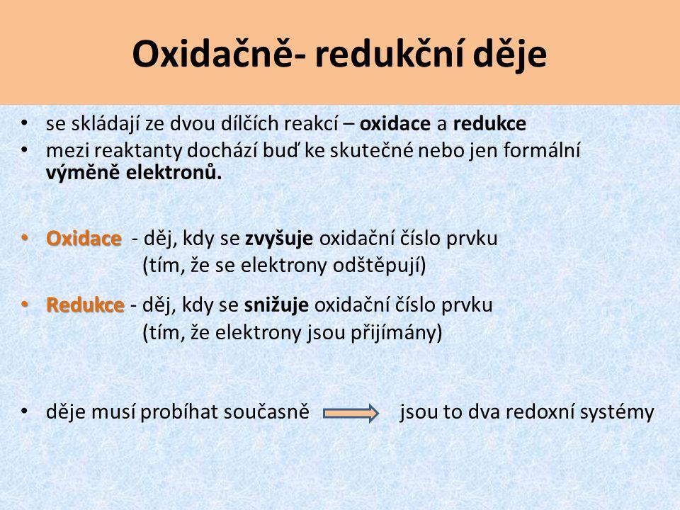 Oxidačně- redukční děje oxidace:Zn 0 – 2 e - Zn 2+ redukce:Cu 2+ + 2 e - Cu 0 Cu + Zn → Cu + Zn děje musí probíhat současně jsou to dva redoxní systémy jedna částice se oxiduje a druhá částice se současně redukuje výměna elektronů mezi dvěma redoxními systémy (redoxní pár) Zn/Zn 2+ a Cu 2+ /Cu oxidace redukce