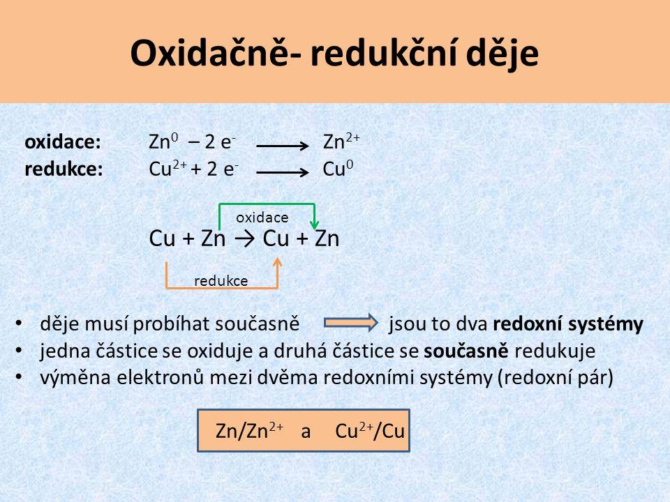 Oxidačně- redukční děje oxidace:Zn 0 – 2 e - Zn 2+ redukce:Cu 2+ + 2 e - Cu 0 Cu + Zn → Cu + Zn děje musí probíhat současně jsou to dva redoxní systém