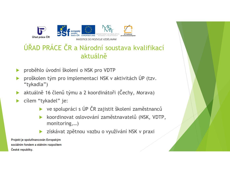 ÚŘAD PRÁCE ČR a Národní soustava kvalifikací aktuálně  proběhlo úvodní školení o NSK pro VDTP  proškolen tým pro implementaci NSK v aktivitách ÚP (tzv.