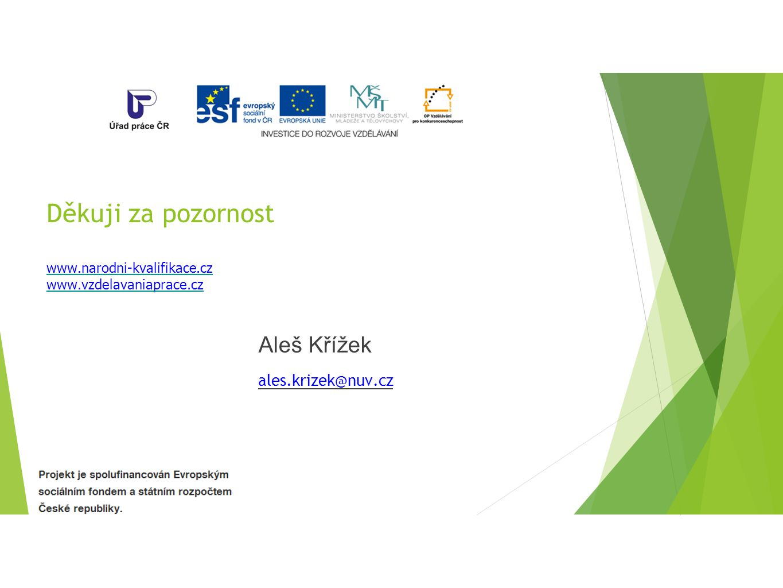 Děkuji za pozornost www.narodni-kvalifikace.cz www.vzdelavaniaprace.cz Aleš Křížek ales.krizek@nuv.cz