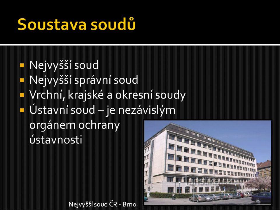  Nejvyšší soud  Nejvyšší správní soud  Vrchní, krajské a okresní soudy  Ústavní soud – je nezávislým orgánem ochrany ústavnosti Nejvyšší soud ČR -