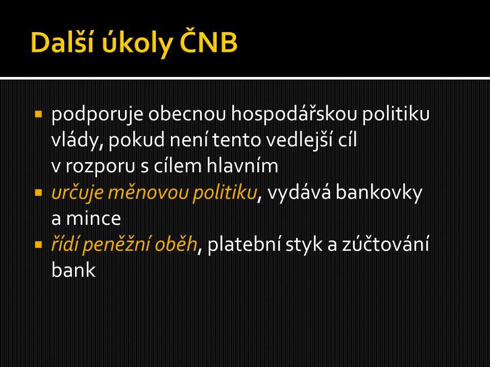  podporuje obecnou hospodářskou politiku vlády, pokud není tento vedlejší cíl v rozporu s cílem hlavním  určuje měnovou politiku, vydává bankovky a