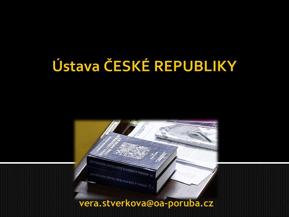  je ústavní zákon a nejvyšší právní předpis České Republiky  je tvořená preambulí a 113 články rozdělených do osmi částí, neboli tzv.