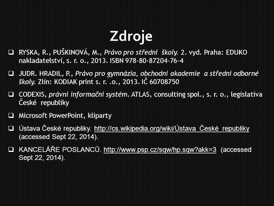 Zdroje  RYSKA, R., PUŠKINOVÁ, M., Právo pro střední školy. 2. vyd. Praha: EDUKO nakladatelství, s. r. o., 2013. ISBN 978-80-87204-76-4  JUDR. HRADIL