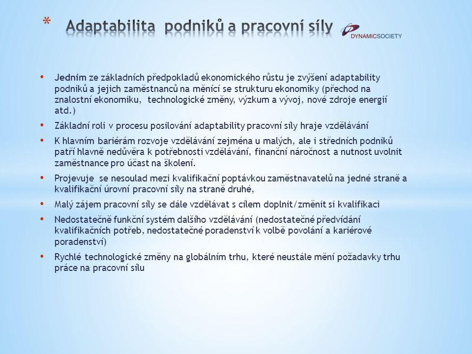 Jedním ze základních předpokladů ekonomického růstu je zvýšení adaptability podniků a jejich zaměstnanců na měnící se strukturu ekonomiky (přechod na