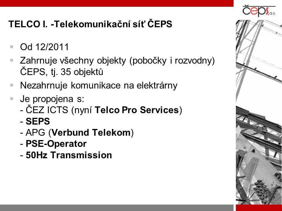 TELCO I. -Telekomunikační síť ČEPS  Od 12/2011  Zahrnuje všechny objekty (pobočky i rozvodny) ČEPS, tj. 35 objektů  Nezahrnuje komunikace na elektr