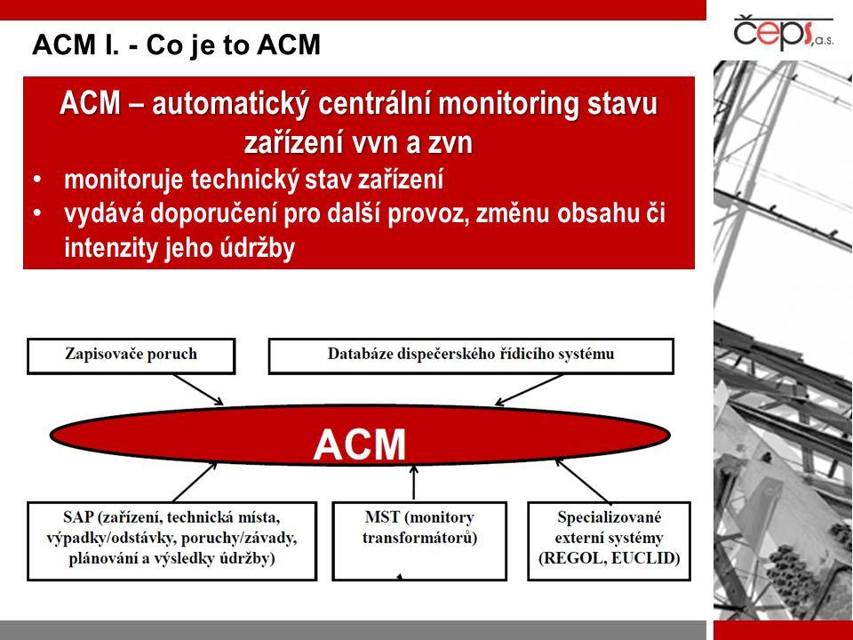 ACM I. - Co je to ACM ACM – automatický centrální monitoring stavu zařízení vvn a zvn monitoruje technický stav zařízení vydává doporučení pro další p