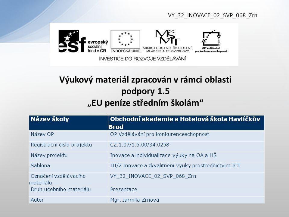 """VY_32_INOVACE_02_SVP_068_Zrn Výukový materiál zpracován v rámci oblasti podpory 1.5 """"EU peníze středním školám"""" Název školy Obchodní akademie a Hotelo"""