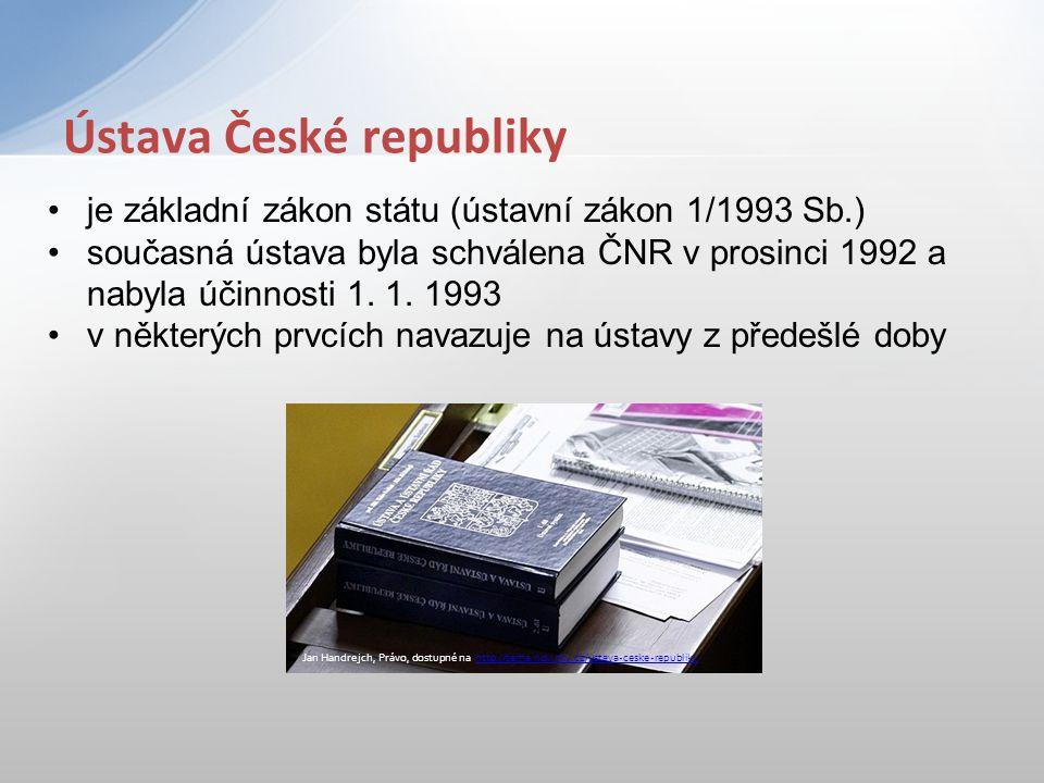 je základní zákon státu (ústavní zákon 1/1993 Sb.) současná ústava byla schválena ČNR v prosinci 1992 a nabyla účinnosti 1. 1. 1993 v některých prvcíc