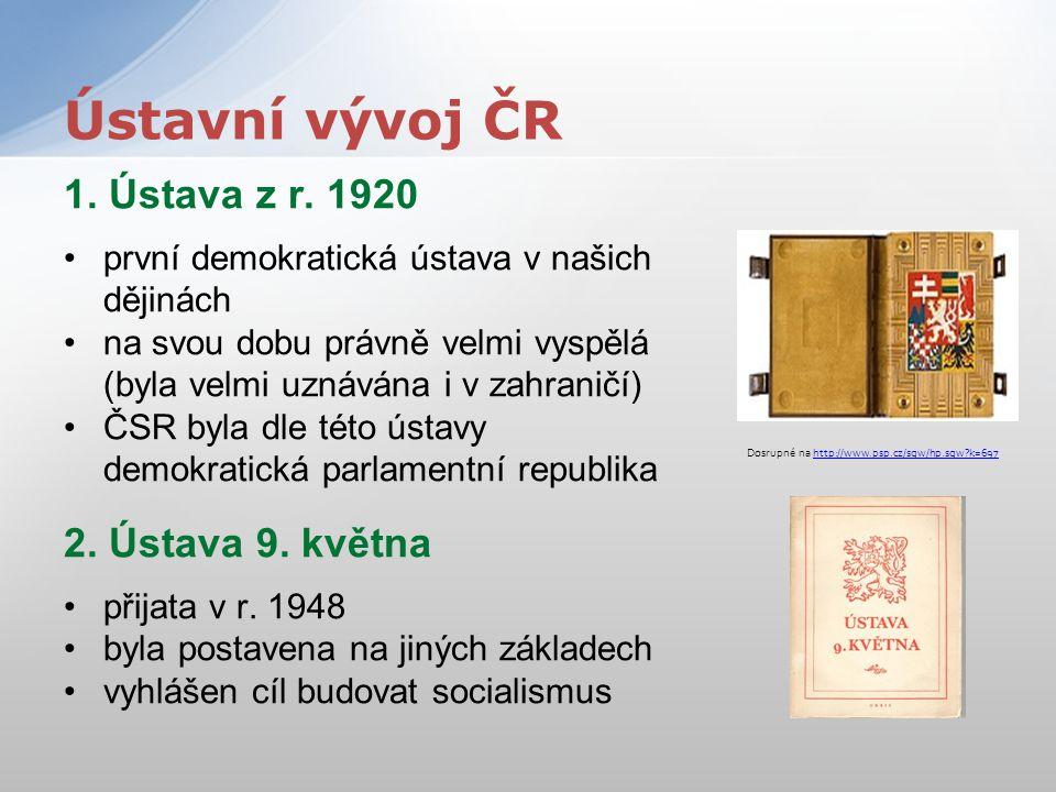 1. Ústava z r. 1920 první demokratická ústava v našich dějinách na svou dobu právně velmi vyspělá (byla velmi uznávána i v zahraničí) ČSR byla dle tét
