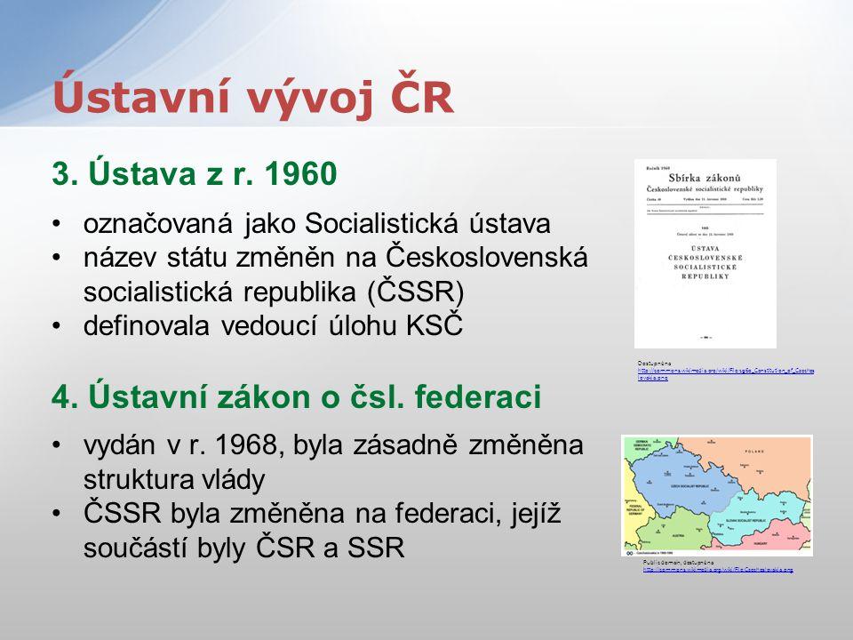 3. Ústava z r. 1960 označovaná jako Socialistická ústava název státu změněn na Československá socialistická republika (ČSSR) definovala vedoucí úlohu