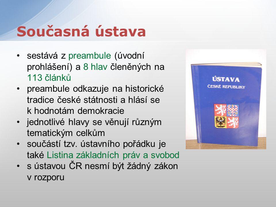 sestává z preambule (úvodní prohlášení) a 8 hlav členěných na 113 článků preambule odkazuje na historické tradice české státnosti a hlásí se k hodnotá