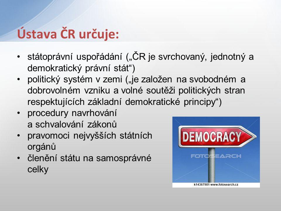 """státoprávní uspořádání (""""ČR je svrchovaný, jednotný a demokratický právní stát"""") politický systém v zemi (""""je založen na svobodném a dobrovolném vznik"""