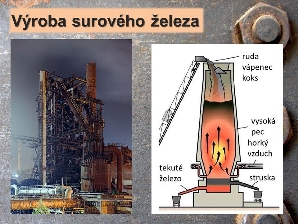 - 30 až 40 m vysoká, 15 m široká šachtová pec z oceli, uvnitř je vyzděna ohnivzdorným materiálem - pracuje nepřetržitě až 10 let, pak odstávka (opravuje se) vysoká pec vysoká pec