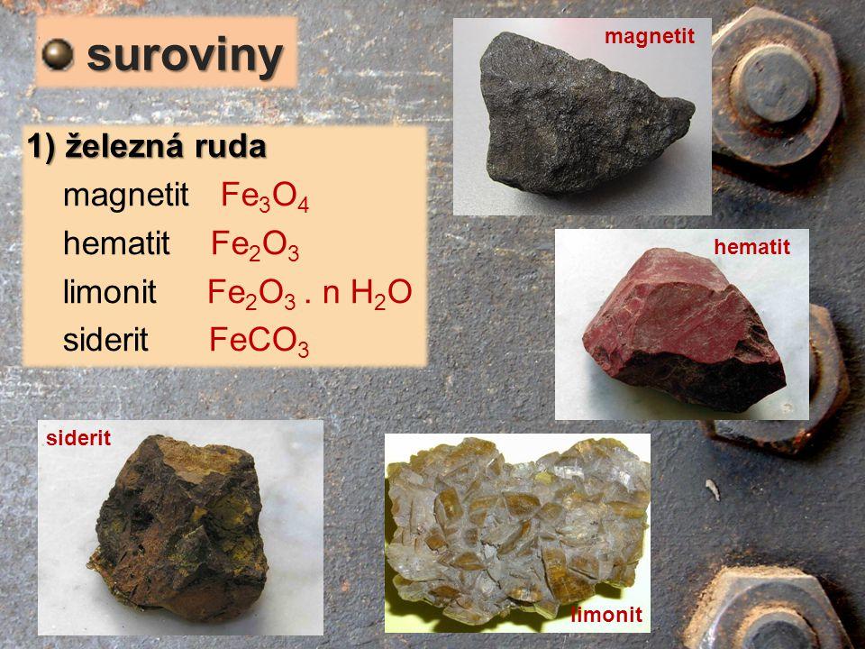 1) železná ruda magnetit Fe 3 O 4 hematit Fe 2 O 3 limonit Fe 2 O 3. n H 2 O siderit FeCO 3 suroviny suroviny magnetit hematit limonit siderit