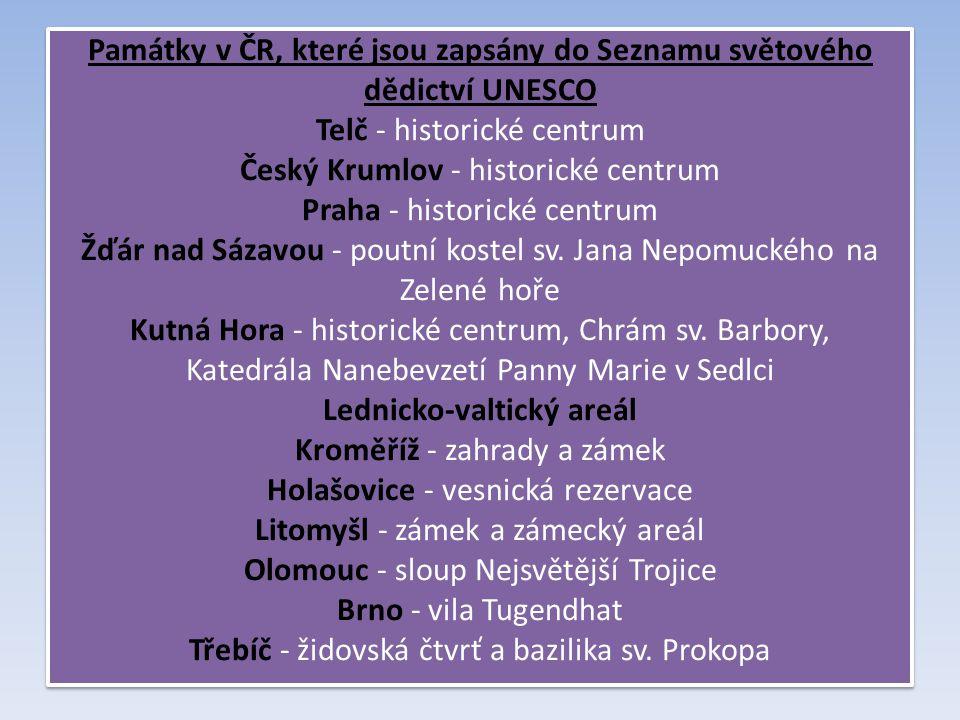 Památky v ČR, které jsou zapsány do Seznamu světového dědictví UNESCO Telč - historické centrum Český Krumlov - historické centrum Praha - historické