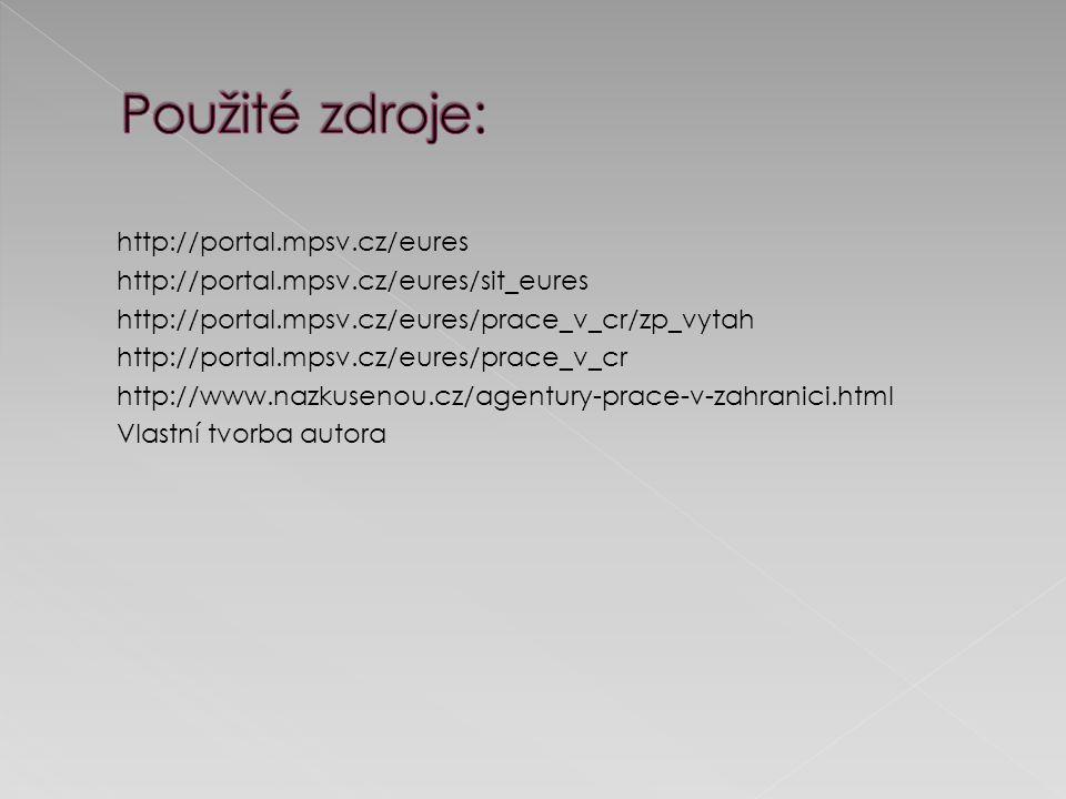 http://portal.mpsv.cz/eures http://portal.mpsv.cz/eures/sit_eures http://portal.mpsv.cz/eures/prace_v_cr/zp_vytah http://portal.mpsv.cz/eures/prace_v_cr http://www.nazkusenou.cz/agentury-prace-v-zahranici.html Vlastní tvorba autora