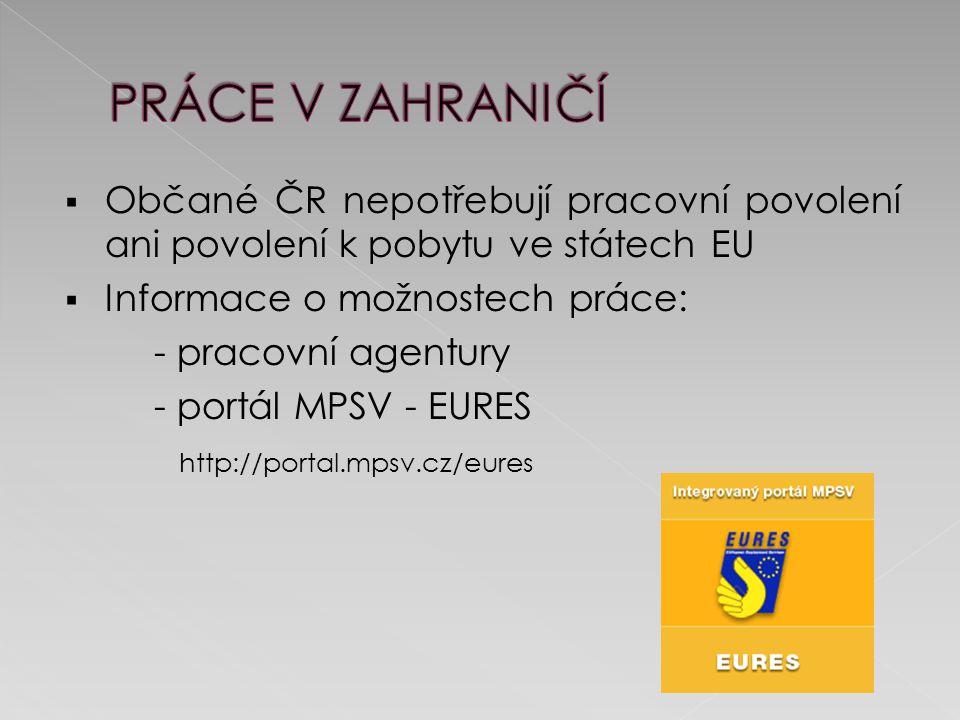  Občané ČR nepotřebují pracovní povolení ani povolení k pobytu ve státech EU  Informace o možnostech práce: - pracovní agentury - portál MPSV - EURES http://portal.mpsv.cz/eures