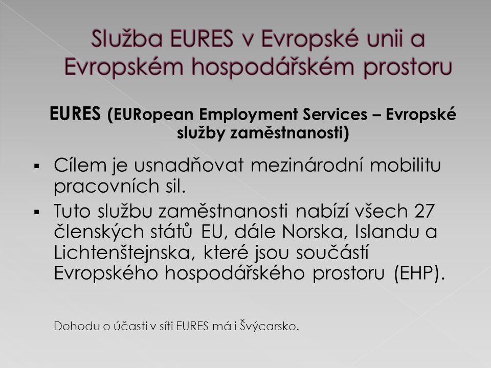 EURES (EURopean Employment Services – Evropské služby zaměstnanosti)  Cílem je usnadňovat mezinárodní mobilitu pracovních sil.  Tuto službu zaměstna