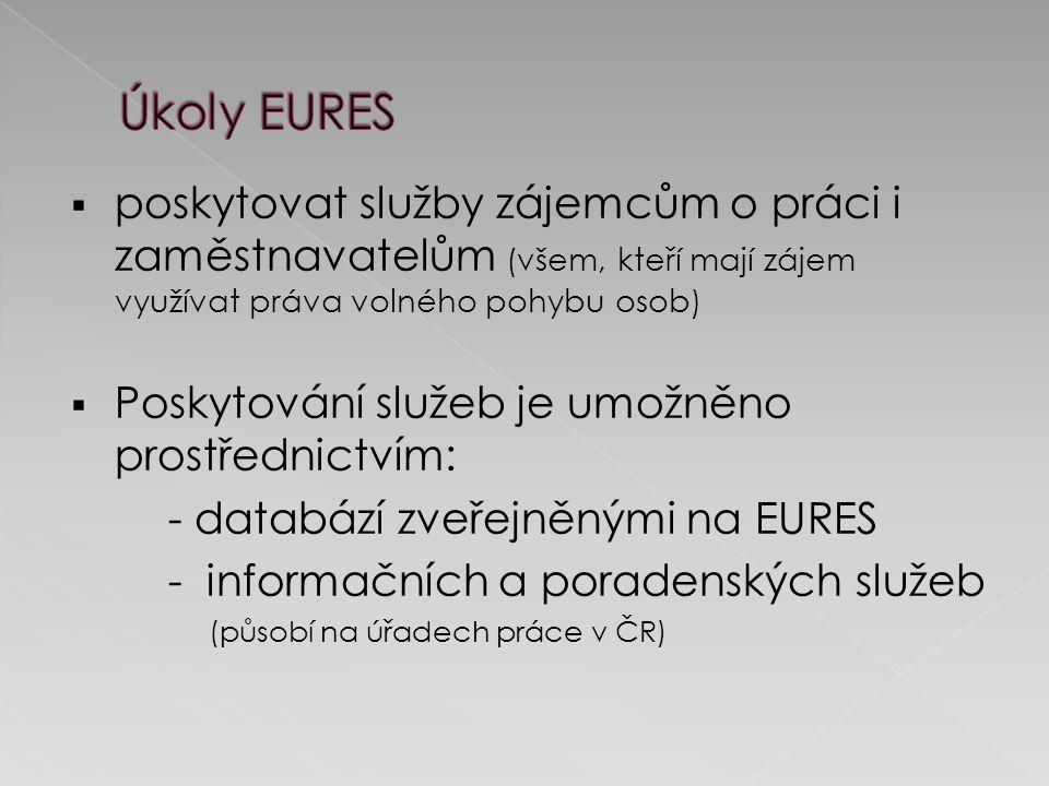 poskytovat služby zájemcům o práci i zaměstnavatelům (všem, kteří mají zájem využívat práva volného pohybu osob)  Poskytování služeb je umožněno prostřednictvím: - databází zveřejněnými na EURES - informačních a poradenských služeb (působí na úřadech práce v ČR)