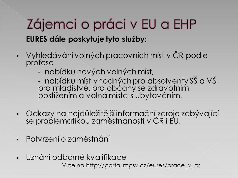 EURES dále poskytuje tyto služby:  Vyhledávání volných pracovních míst v ČR podle profese - nabídku nových volných míst, - nabídku míst vhodných pro absolventy SŠ a VŠ, pro mladistvé, pro občany se zdravotním postižením a volná místa s ubytováním.