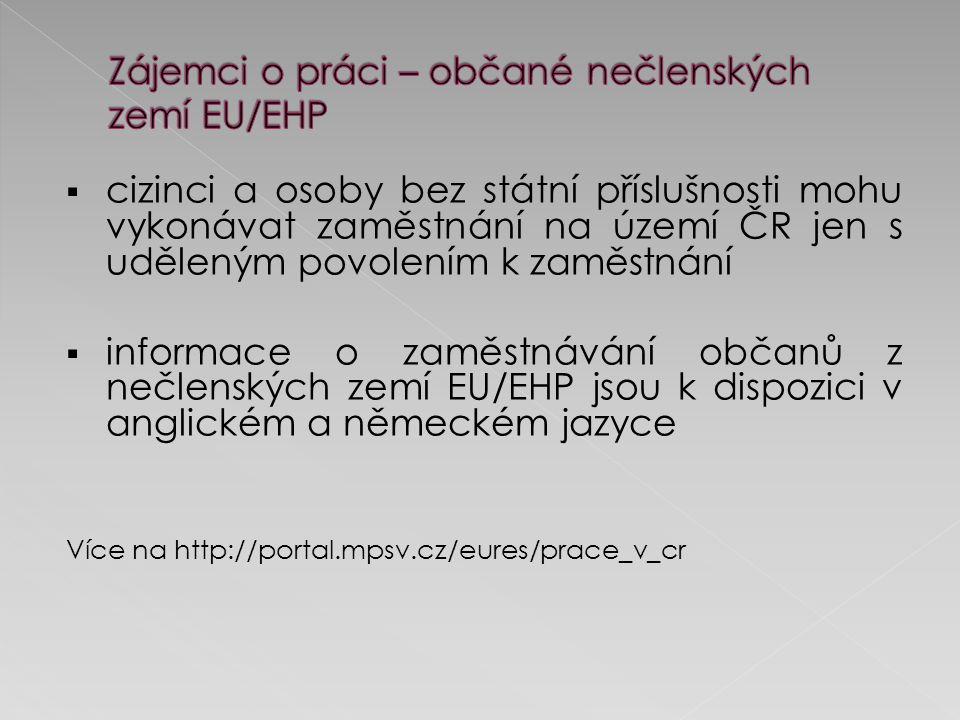  cizinci a osoby bez státní příslušnosti mohu vykonávat zaměstnání na území ČR jen s uděleným povolením k zaměstnání  informace o zaměstnávání občanů z nečlenských zemí EU/EHP jsou k dispozici v anglickém a německém jazyce Více na http://portal.mpsv.cz/eures/prace_v_cr
