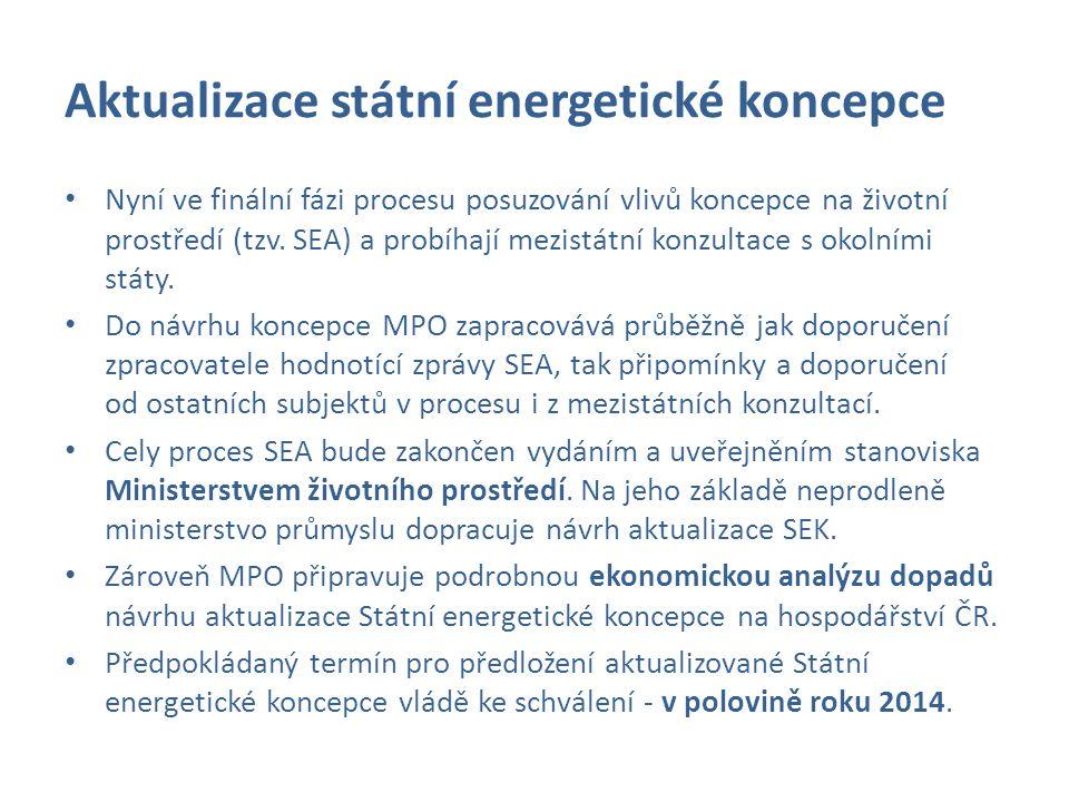 Aktualizace státní energetické koncepce Nyní ve finální fázi procesu posuzování vlivů koncepce na životní prostředí (tzv. SEA) a probíhají mezistátní