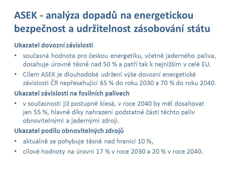 ASEK - analýza dopadů na energetickou bezpečnost a udržitelnost zásobování státu Ukazatel dovozní závislosti současná hodnota pro českou energetiku, v